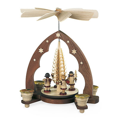 Pyramid Gift-Bringing Angels, Pointed Arch Woodshaving Tree, 1-tier, Natural